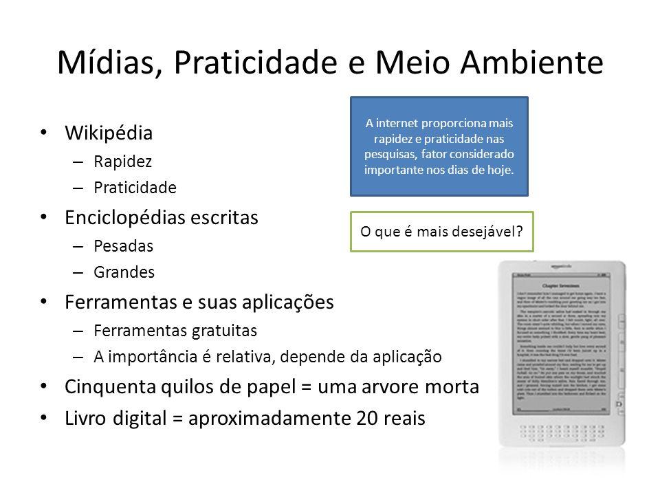 Mídias, Praticidade e Meio Ambiente Wikipédia – Rapidez – Praticidade Enciclopédias escritas – Pesadas – Grandes Ferramentas e suas aplicações – Ferra
