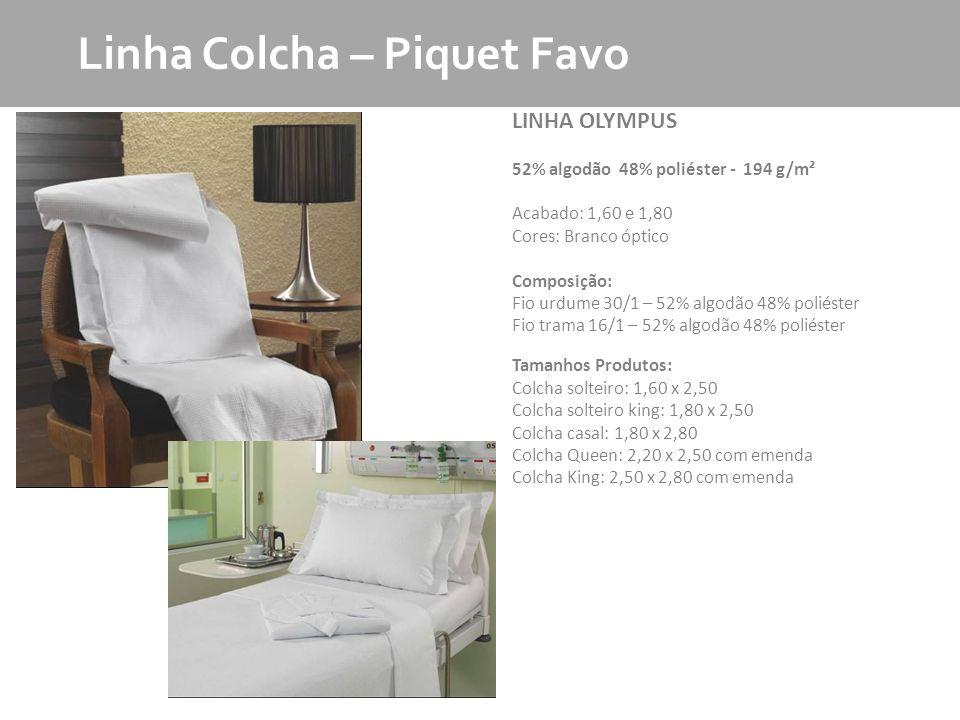 MKT - Produto LINHA OLYMPUS 52% algodão 48% poliéster - 194 g/m² Acabado: 1,60 e 1,80 Cores: Branco óptico Composição: Fio urdume 30/1 – 52% algodão 4