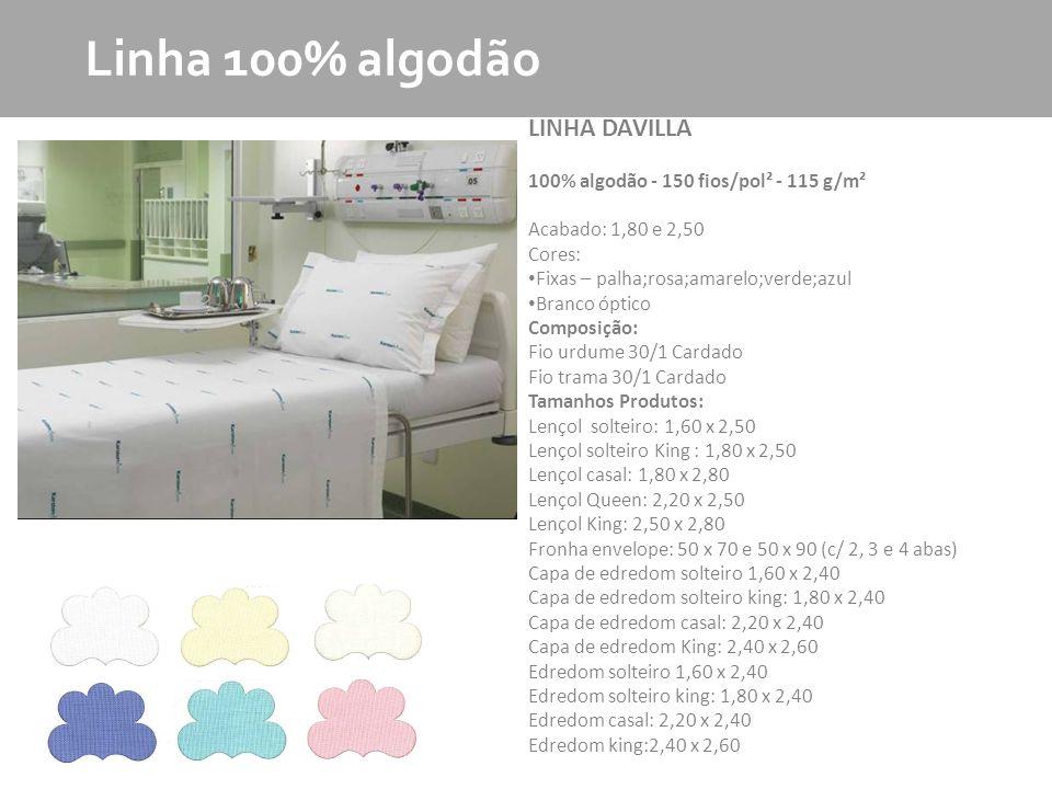 MKT - Produto Linha 100% algodão LINHA LANDI 100% algodão - 180 fios/pol² - 138 g/m² Acabado: 1,80 e 2,60 Cores: Fixas – palha;rosa;amarelo;verde;azul Branco óptico Composição: Fio urdume 36/1 Penteado Fio trama 30/1 Penteado Tamanhos Produtos: Lençol solteiro: 1,60 x 2,50 Lençol solteiro King : 1,80 x 2,50 Lençol casal: 1,80 x 2,80 Lençol Queen: 2,20 x 2,50 Lençol King: 2,50 x 2,80 Fronha envelope: 50 x 70 e 50 x 90 (c/ 2, 3 e 4 abas) Capa de edredom solteiro 1,60 x 2,40 Capa de edredom solteiro king: 1,80 x 2,40 Capa de edredom casal: 2,20 x 2,40 Capa de edredom King: 2,40 x 2,60 Edredom solteiro 1,60 x 2,40 Edredom solteiro king: 1,80 x 2,40 Edredom casal: 2,20 x 2,40 Edredom king:2,40 x 2,60
