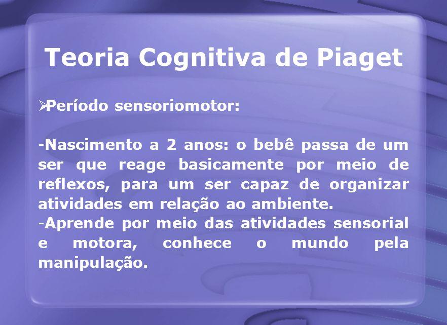 Teoria Cognitiva de Piaget Período sensoriomotor: -Nascimento a 2 anos: o bebê passa de um ser que reage basicamente por meio de reflexos, para um ser