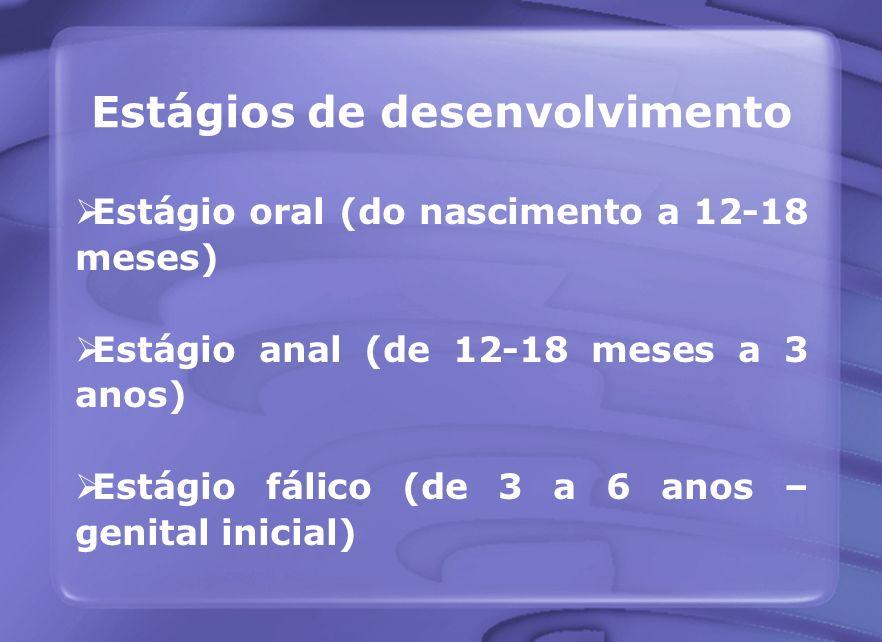 Estágios de desenvolvimento Estágio oral (do nascimento a 12-18 meses) Estágio anal (de 12-18 meses a 3 anos) Estágio fálico (de 3 a 6 anos – genital