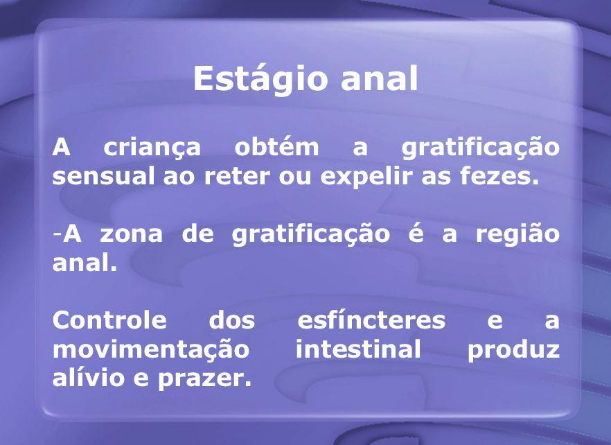 Estágio anal A criança obtém a gratificação sensual ao reter ou expelir as fezes. -A zona de gratificação é a região anal. Controle dos esfíncteres e
