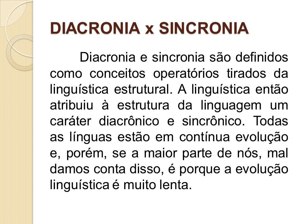 DIACRONIA x SINCRONIA Diacronia e sincronia são definidos como conceitos operatórios tirados da linguística estrutural. A linguística então atribuiu à