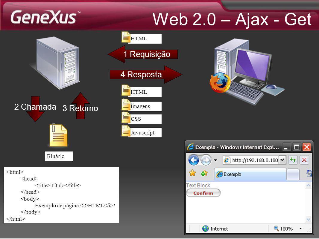 Web 2.0 – Ajax - Get 4 Resposta 1 Requisição 2 Chamada 3 Retorno Binário Título Exemplo de página HTML ! HTML Imagens CSS Javascrípt HTML