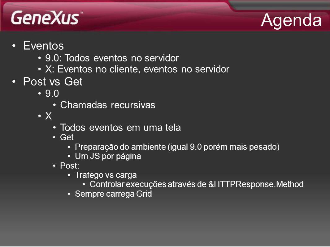 Agenda Eventos 9.0: Todos eventos no servidor X: Eventos no cliente, eventos no servidor Post vs Get 9.0 Chamadas recursivas X Todos eventos em uma te