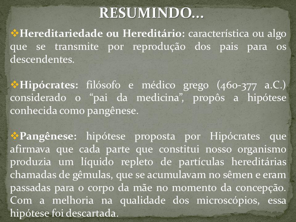 Hereditariedade ou Hereditário: característica ou algo que se transmite por reprodução dos pais para os descendentes. Hipócrates: filósofo e médico gr