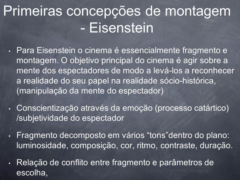 Primeiras concepções de montagem - Eisenstein Para Eisenstein o cinema é essencialmente fragmento e montagem. O objetivo principal do cinema é agir so