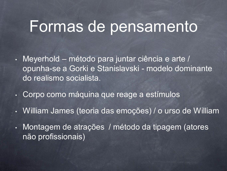 Formas de pensamento Meyerhold – método para juntar ciência e arte / opunha-se a Gorki e Stanislavski - modelo dominante do realismo socialista. Corpo