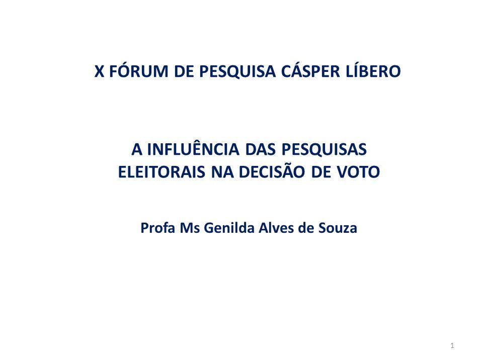 A INFLUÊNCIA DAS PESQUISAS ELEITORAIS NA DECISÃO DE VOTO Profa Ms Genilda Alves de Souza X FÓRUM DE PESQUISA CÁSPER LÍBERO 1
