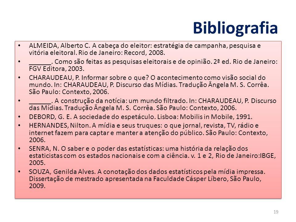 Bibliografia ALMEIDA, Alberto C. A cabeça do eleitor: estratégia de campanha, pesquisa e vitória eleitoral. Rio de Janeiro: Record, 2008. ______. Como