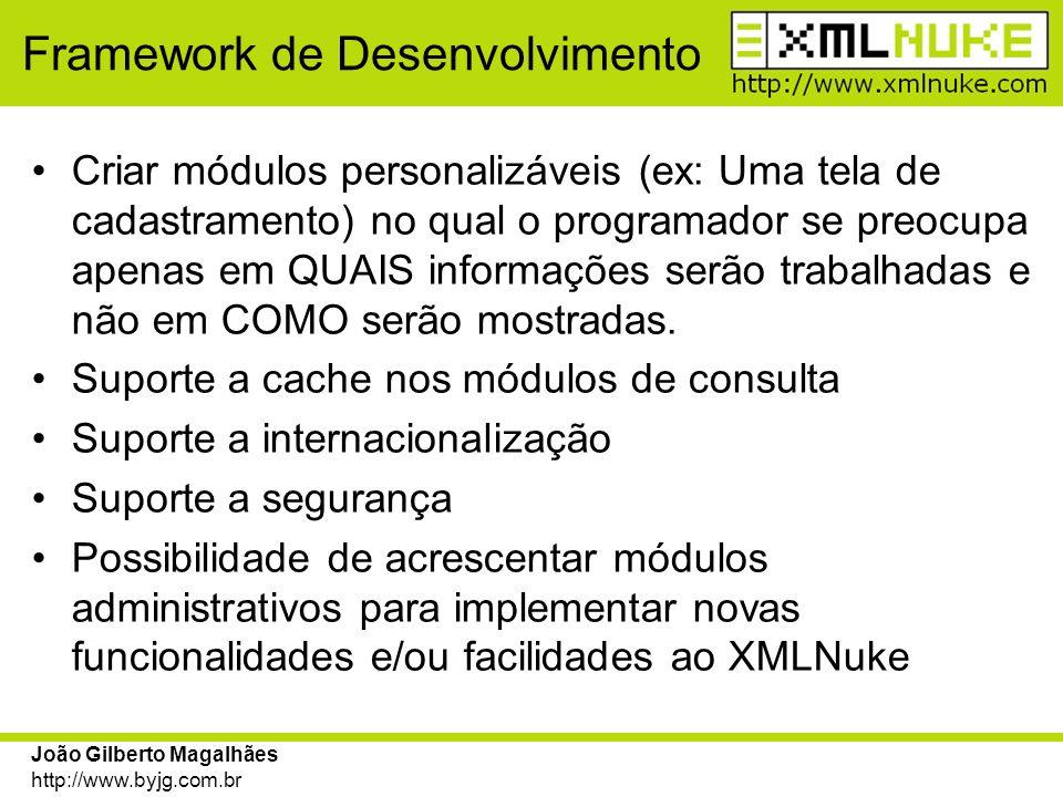 João Gilberto Magalhães http://www.byjg.com.br Framework de Desenvolvimento Criar módulos personalizáveis (ex: Uma tela de cadastramento) no qual o pr
