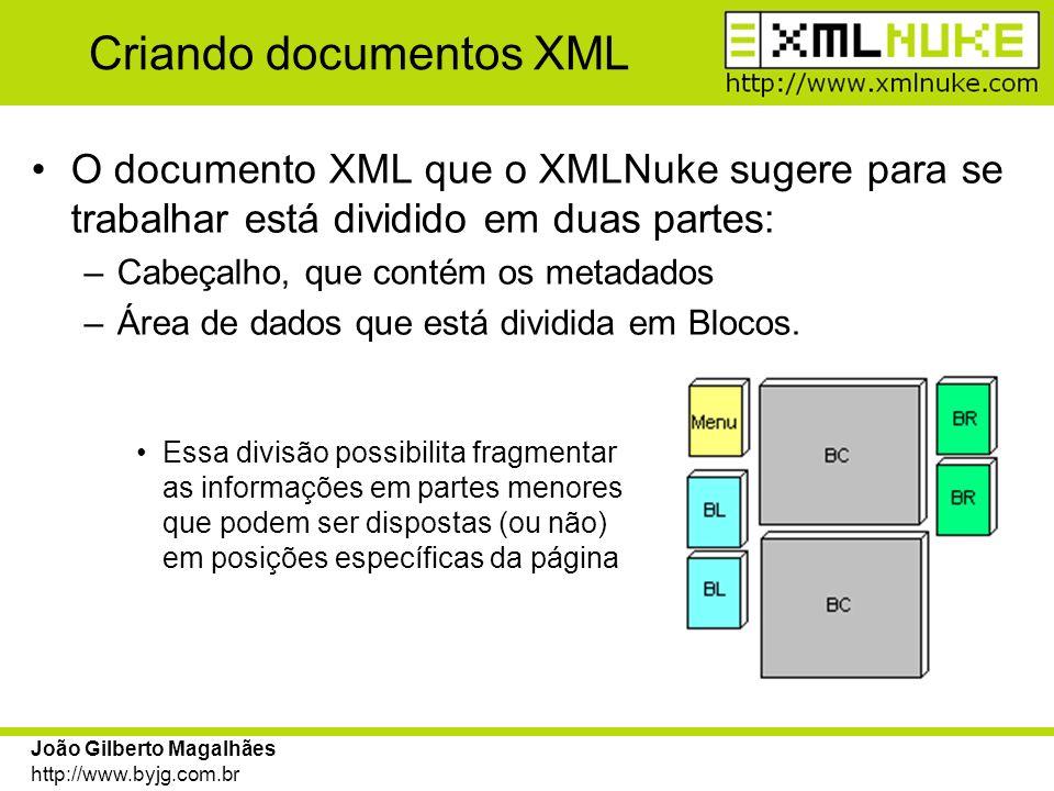 João Gilberto Magalhães http://www.byjg.com.br Criando documentos XML O documento XML que o XMLNuke sugere para se trabalhar está dividido em duas par