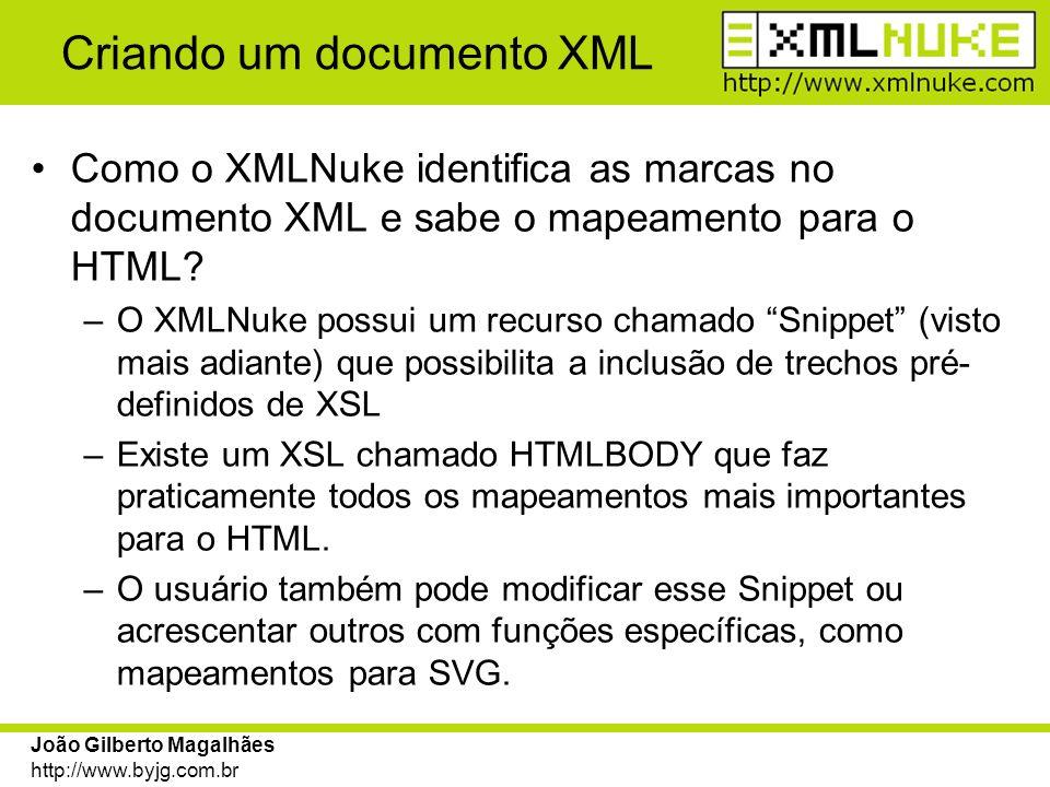 João Gilberto Magalhães http://www.byjg.com.br Criando um documento XML Como o XMLNuke identifica as marcas no documento XML e sabe o mapeamento para