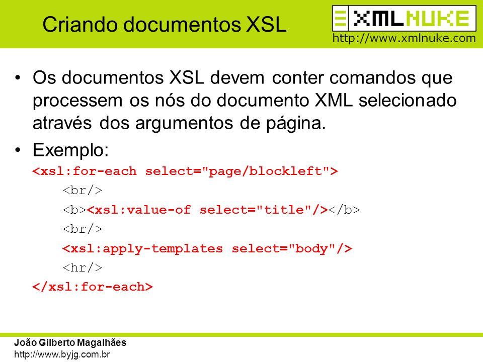 João Gilberto Magalhães http://www.byjg.com.br Criando documentos XSL Os documentos XSL devem conter comandos que processem os nós do documento XML se