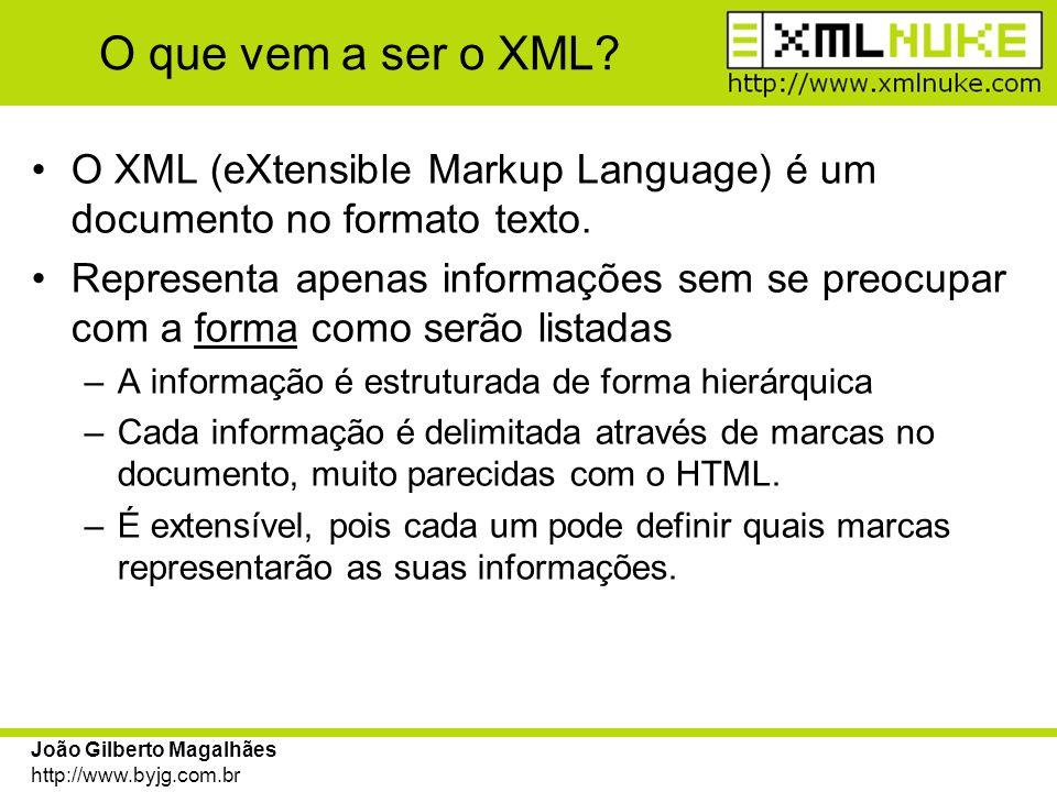 João Gilberto Magalhães http://www.byjg.com.br Criando documentos XSL Os documentos XSL devem conter comandos que processem os nós do documento XML selecionado através dos argumentos de página.