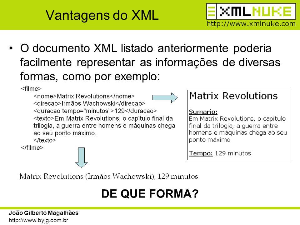 João Gilberto Magalhães http://www.byjg.com.br Criando um documento XML Conforme visto na definição, o XML pode ter qualquer formato.