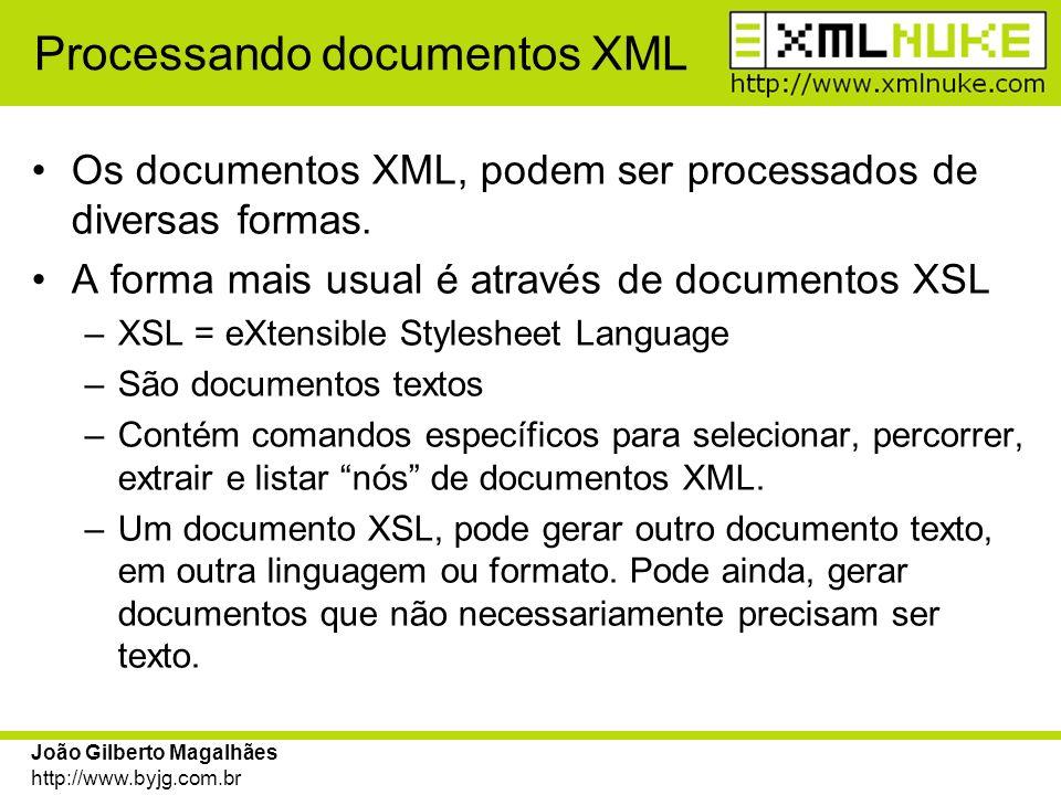 João Gilberto Magalhães http://www.byjg.com.br Criando documentos XML O documento XML que o XMLNuke sugere para se trabalhar está dividido em duas partes: –Cabeçalho, que contém os metadados –Área de dados que está dividida em Blocos.