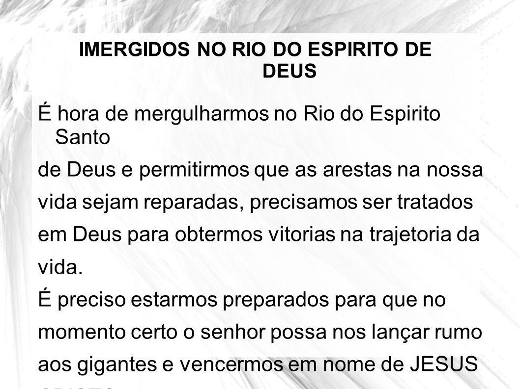 IMERGIDOS NO RIO DO ESPIRITO DE DEUS É hora de mergulharmos no Rio do Espirito Santo de Deus e permitirmos que as arestas na nossa vida sejam reparada