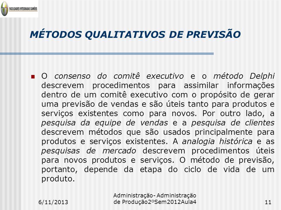 MÉTODOS QUALITATIVOS DE PREVISÃO O consenso do comitê executivo e o método Delphi descrevem procedimentos para assimilar informações dentro de um comi