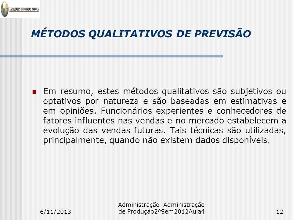 MÉTODOS QUALITATIVOS DE PREVISÃO Em resumo, estes métodos qualitativos são subjetivos ou optativos por natureza e são baseadas em estimativas e em opi
