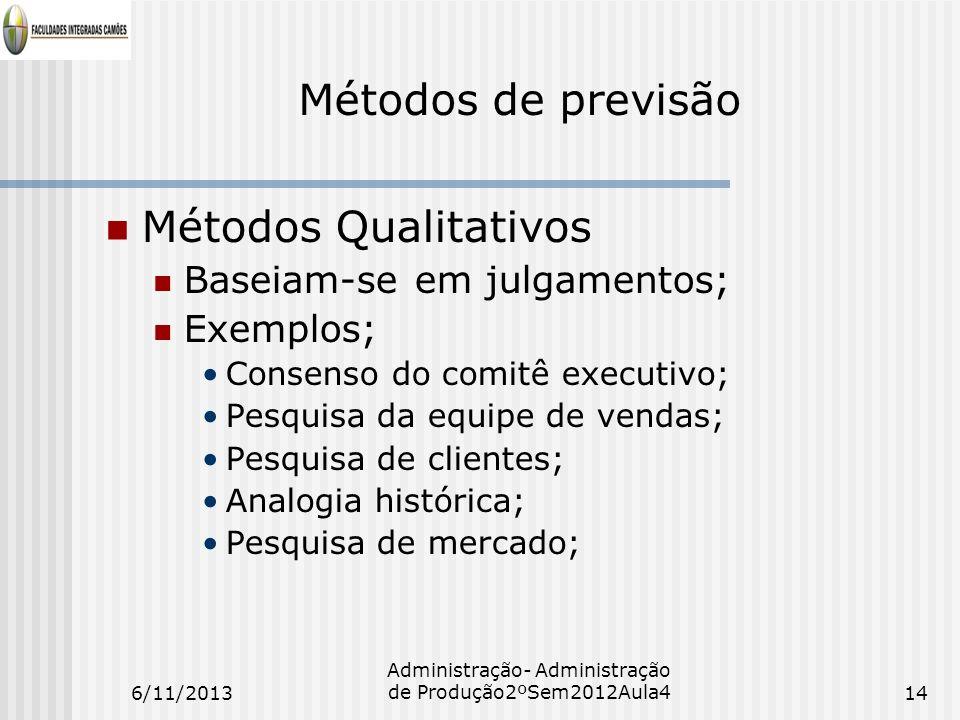 Métodos de previsão Métodos Qualitativos Baseiam-se em julgamentos; Exemplos; Consenso do comitê executivo; Pesquisa da equipe de vendas; Pesquisa de