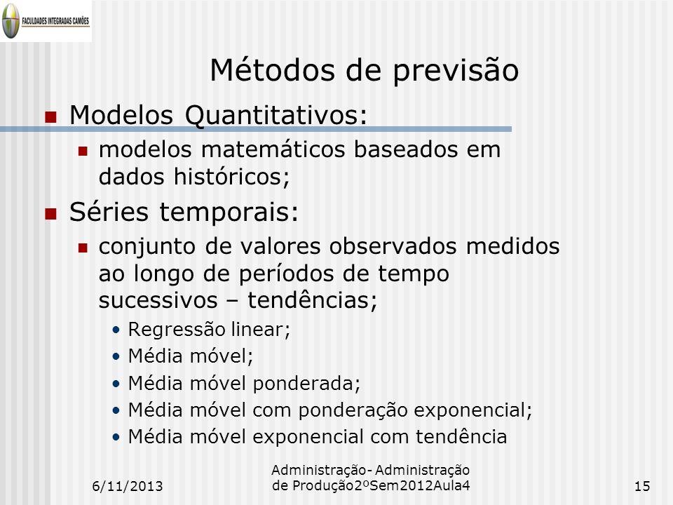 Métodos de previsão Modelos Quantitativos: modelos matemáticos baseados em dados históricos; Séries temporais: conjunto de valores observados medidos