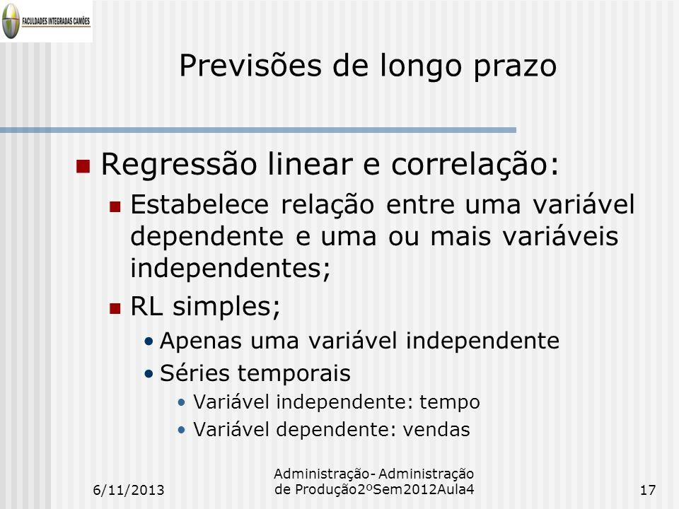 Previsões de longo prazo Regressão linear e correlação: Estabelece relação entre uma variável dependente e uma ou mais variáveis independentes; RL sim
