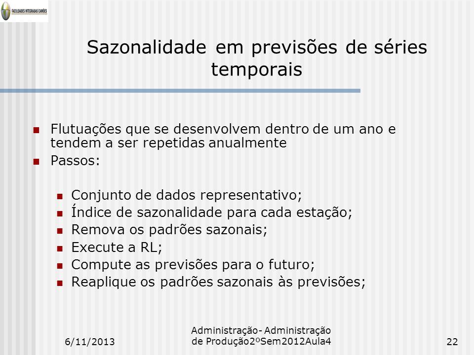 Sazonalidade em previsões de séries temporais Flutuações que se desenvolvem dentro de um ano e tendem a ser repetidas anualmente Passos: Conjunto de d