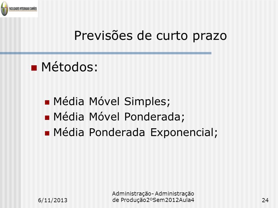 Previsões de curto prazo Métodos: Média Móvel Simples; Média Móvel Ponderada; Média Ponderada Exponencial; 6/11/201324 Administração- Administração de