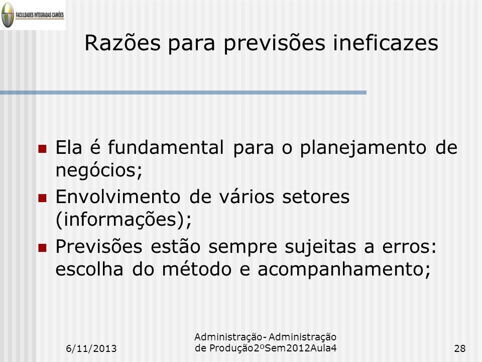 Razões para previsões ineficazes Ela é fundamental para o planejamento de negócios; Envolvimento de vários setores (informações); Previsões estão semp
