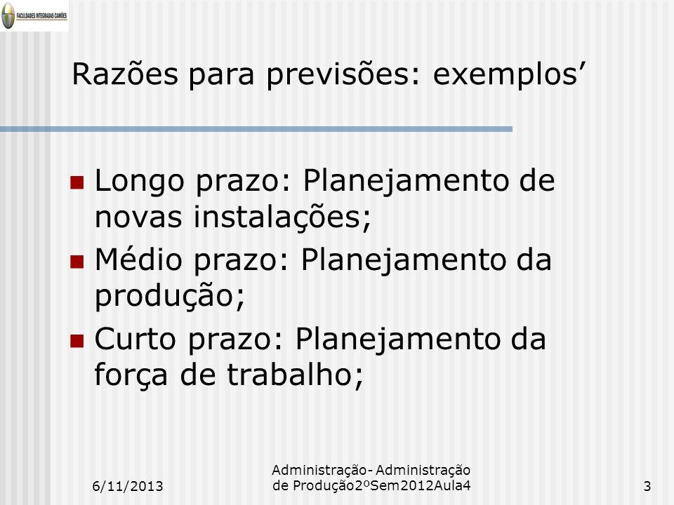 Razões para previsões: exemplos Longo prazo: Planejamento de novas instalações; Médio prazo: Planejamento da produção; Curto prazo: Planejamento da fo