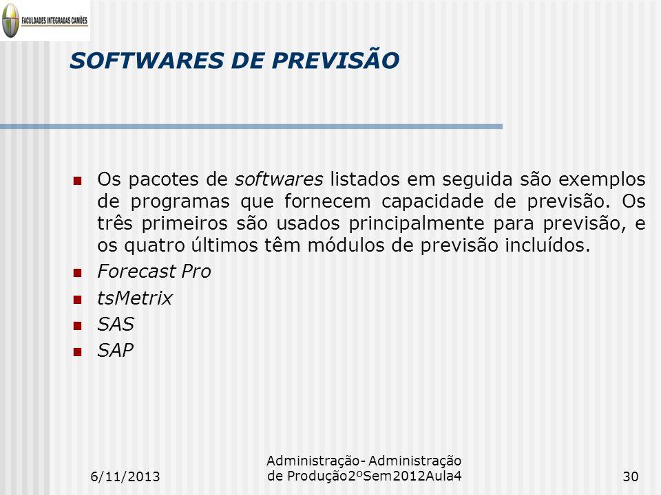 SOFTWARES DE PREVISÃO Os pacotes de softwares listados em seguida são exemplos de programas que fornecem capacidade de previsão. Os três primeiros são
