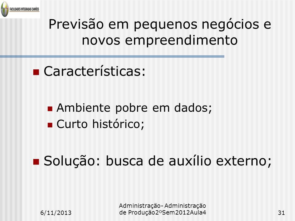 Previsão em pequenos negócios e novos empreendimento Características: Ambiente pobre em dados; Curto histórico; Solução: busca de auxílio externo; 6/1