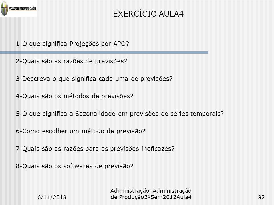 EXERCÍCIO AULA4 1-O que significa Projeções por APO? 2-Quais são as razões de previsões? 3-Descreva o que significa cada uma de previsões? 4-Quais são