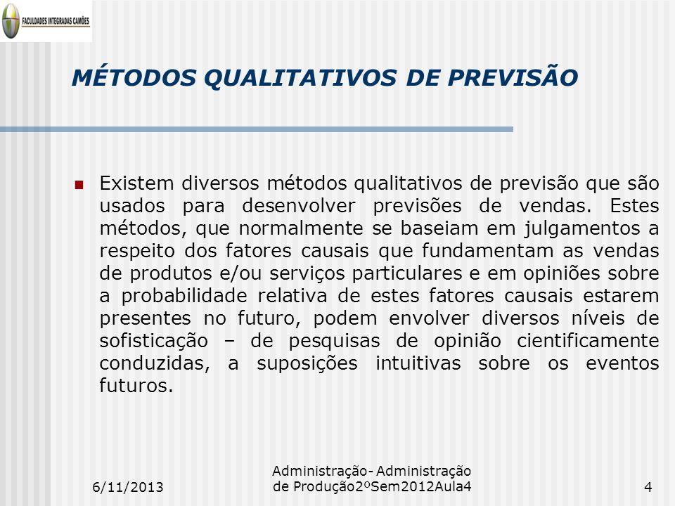 MÉTODOS QUALITATIVOS DE PREVISÃO Existem diversos métodos qualitativos de previsão que são usados para desenvolver previsões de vendas. Estes métodos,