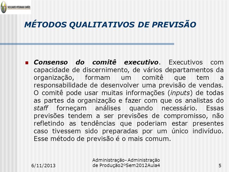 MÉTODOS QUALITATIVOS DE PREVISÃO Consenso do comitê executivo. Executivos com capacidade de discernimento, de vários departamentos da organização, for