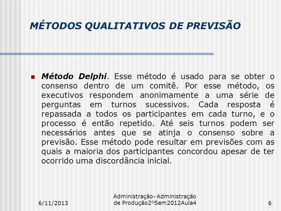 MÉTODOS QUALITATIVOS DE PREVISÃO Método Delphi. Esse método é usado para se obter o consenso dentro de um comitê. Por esse método, os executivos respo