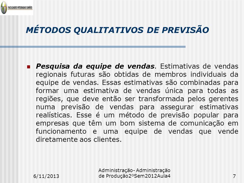 MÉTODOS QUALITATIVOS DE PREVISÃO Pesquisa da equipe de vendas. Estimativas de vendas regionais futuras são obtidas de membros individuais da equipe de