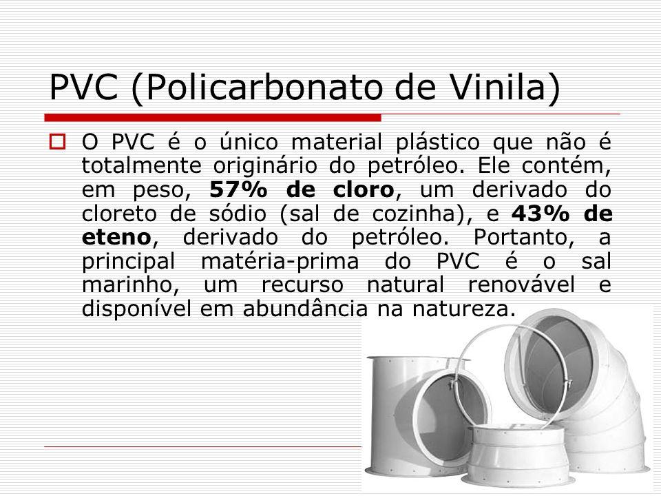 PVC (Policarbonato de Vinila) O PVC é o único material plástico que não é totalmente originário do petróleo. Ele contém, em peso, 57% de cloro, um der