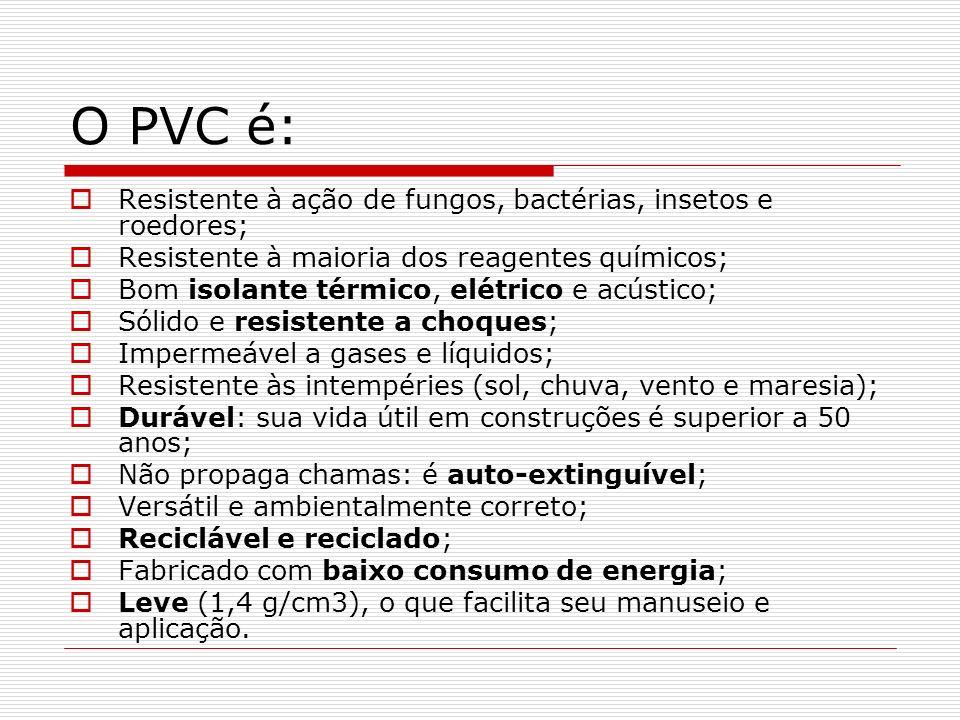 O PVC é: Resistente à ação de fungos, bactérias, insetos e roedores; Resistente à maioria dos reagentes químicos; Bom isolante térmico, elétrico e acú