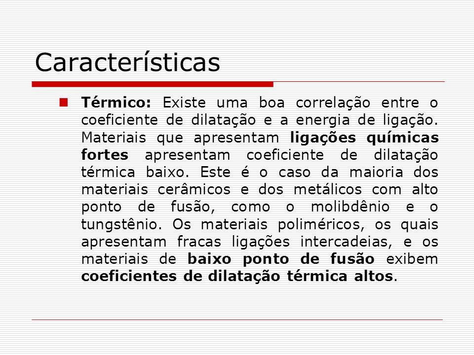 Características Térmico: Existe uma boa correlação entre o coeficiente de dilatação e a energia de ligação. Materiais que apresentam ligações químicas