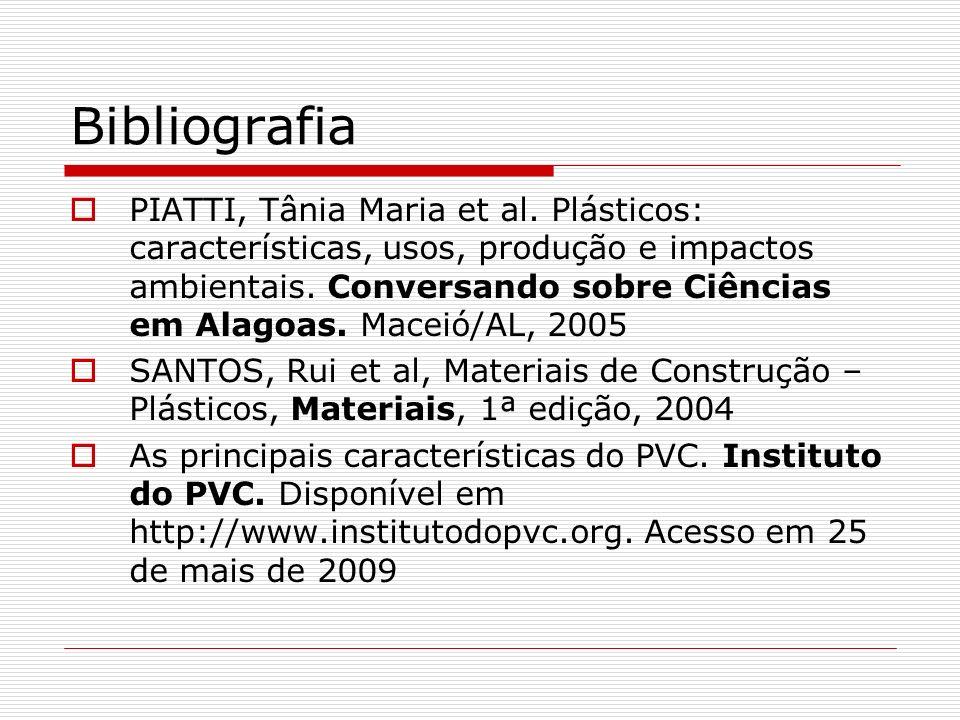 Bibliografia PIATTI, Tânia Maria et al. Plásticos: características, usos, produção e impactos ambientais. Conversando sobre Ciências em Alagoas. Macei