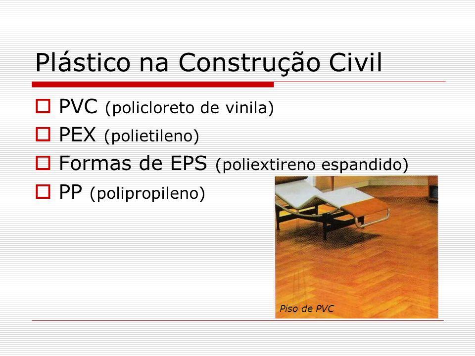 Plástico na Construção Civil PVC (policloreto de vinila) PEX (polietileno) Formas de EPS (poliextireno espandido) PP (polipropileno) Piso de PVC