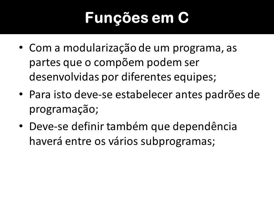 As funções dividem um programa em tarefas menores que, juntas, cumprem o objetivo inicial do programa; Quando um determinado conjunto de instruções tiver que ser repetido dentro da solução de um problema, é conveniente colocá-lo dentro de uma única função; –Para se criar uma função é necessário: –Um identificador (o nome da função); –Uma lista de parâmetros (que possibilitam a comunicação com outras funções); –E as ações que serão executadas por esta função, que formam o corpo da mesma; Funções em C