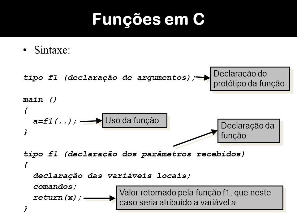 Exemplo: função para calcular a soma; Funções em C #include int soma(int a, int b); main() { int a,b,result; printf( Digite o valor de a: ); scanf( %d ,&a); printf( Digite o valor de b: ); scanf( %d ,&b); result = soma(a,b); printf( %d ,result); getch(); } #include int soma(int a, int b); main() { int a,b,result; printf( Digite o valor de a: ); scanf( %d ,&a); printf( Digite o valor de b: ); scanf( %d ,&b); result = soma(a,b); printf( %d ,result); getch(); }...