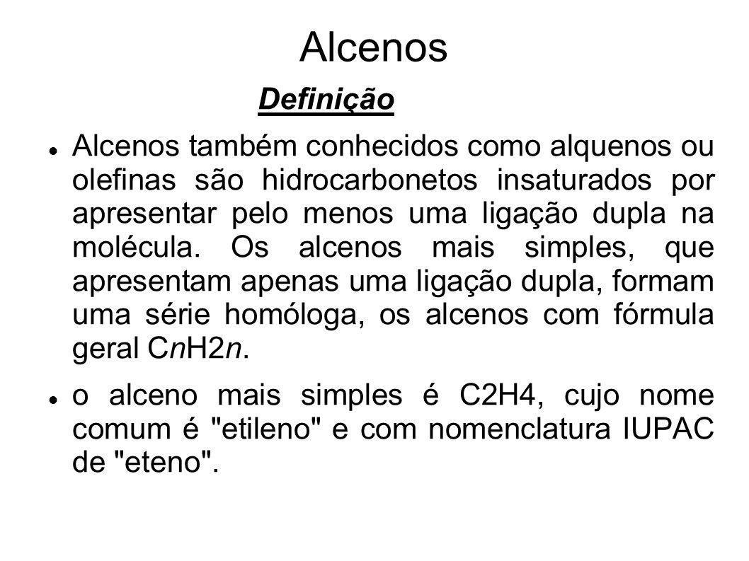 Alcenos Definição Alcenos também conhecidos como alquenos ou olefinas são hidrocarbonetos insaturados por apresentar pelo menos uma ligação dupla na m