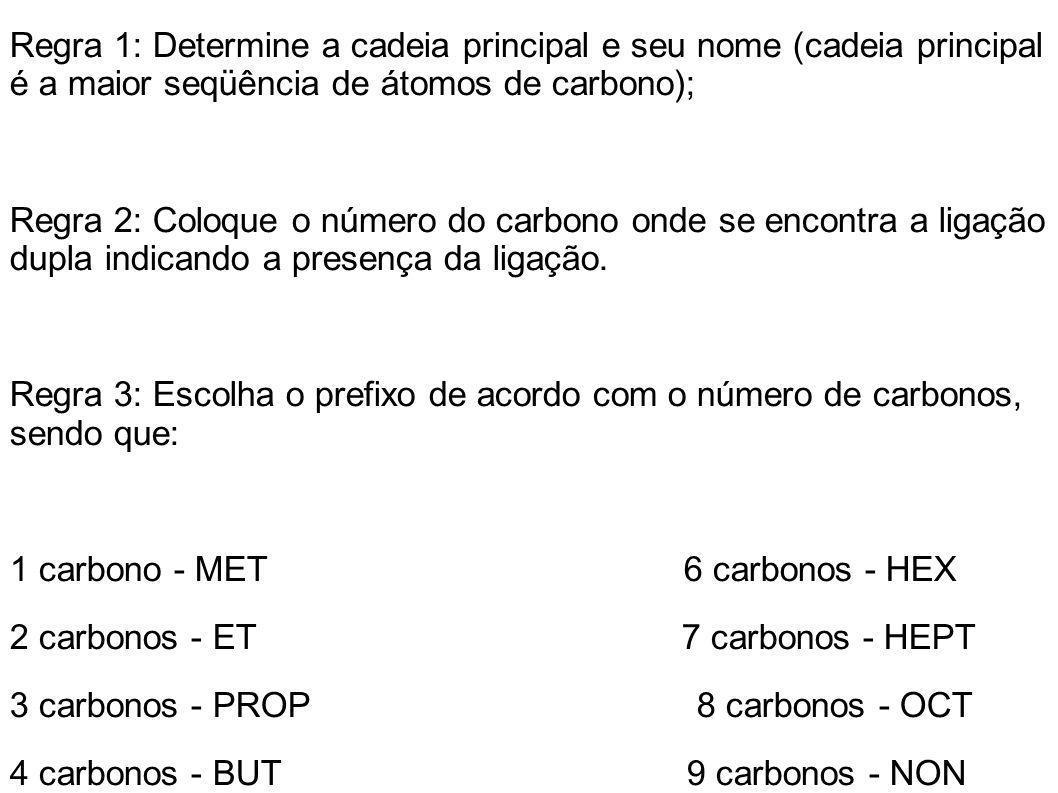 Regra 1: Determine a cadeia principal e seu nome (cadeia principal é a maior seqüência de átomos de carbono); Regra 2: Coloque o número do carbono ond