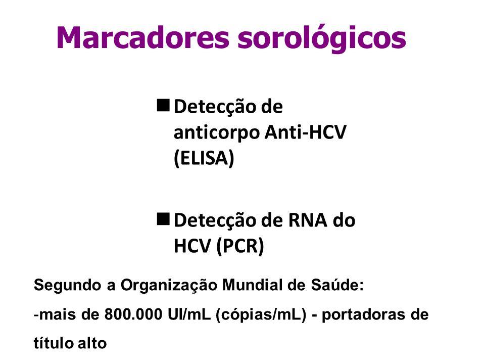 Detecção de anticorpo Anti-HCV (ELISA) Detecção de RNA do HCV (PCR) Marcadores sorológicos Segundo a Organização Mundial de Saúde: -mais de 800.000 UI