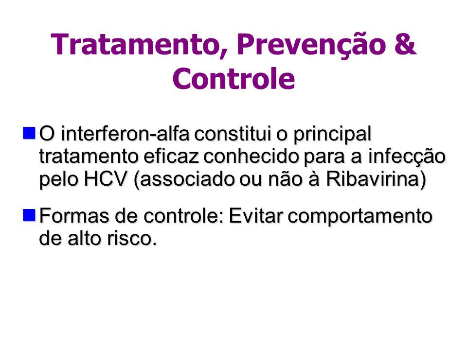 Tratamento, Prevenção & Controle O interferon-alfa constitui o principal tratamento eficaz conhecido para a infecção pelo HCV (associado ou não à Riba