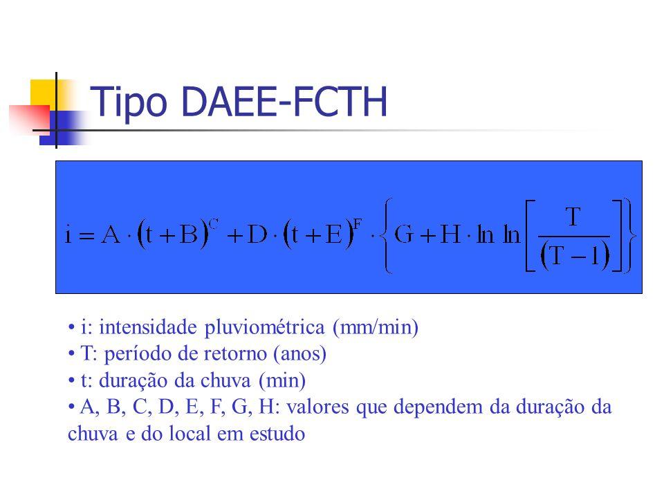 Tipo DAEE-FCTH i: intensidade pluviométrica (mm/min) T: período de retorno (anos) t: duração da chuva (min) A, B, C, D, E, F, G, H: valores que depend